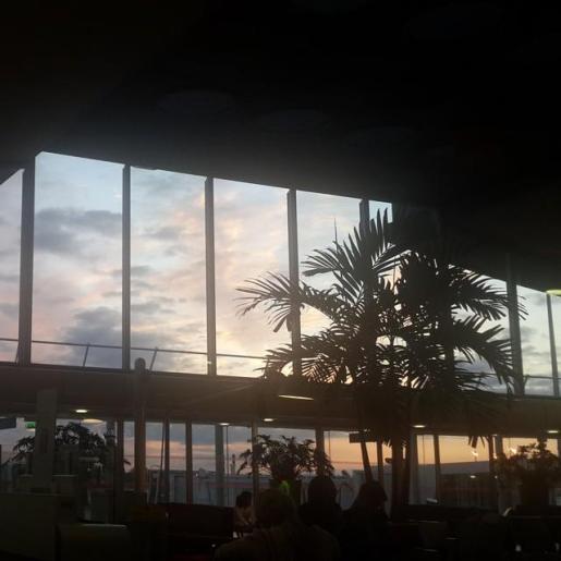 Paris Charles de Gaulle airport at sunrise